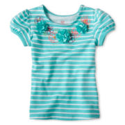 Okie Dokie® Embroidered-Neckline Tee - Girls 12m-6y