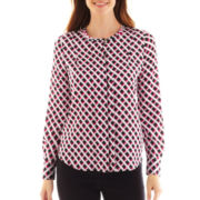 Liz Claiborne Long-Sleeve Print Blouse