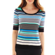 Liz Claiborne Elbow-Sleeve Striped Sweater