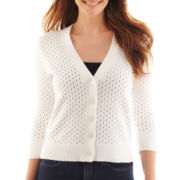 Liz Claiborne 3/4-Sleeve Pointelle Cardigan Sweater