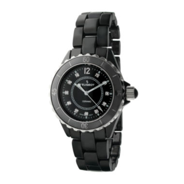 jcpenney.com | Peugeot® Womens Crystal-Accent Black Ceramic Bracelet Watch