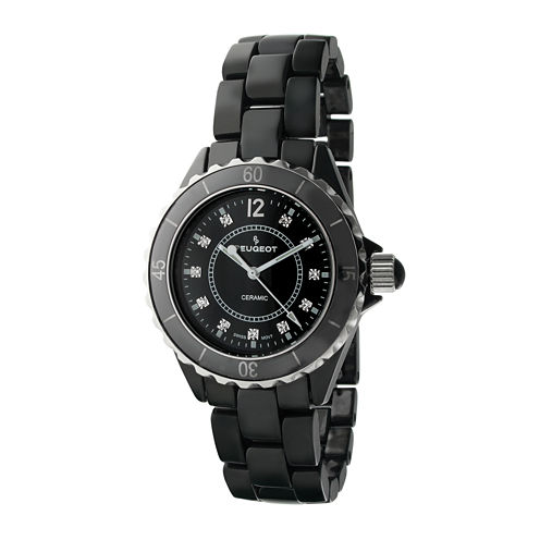 Peugeot® Womens Crystal-Accent Black Ceramic Bracelet Watch