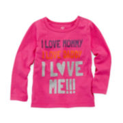 Okie Dokie® Long-Sleeve Knit Graphic Tee - Girls newborn-24m