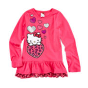 Hello Kitty® Long-Sleeve Ruffle-Hem Tee – Girls 4-6x