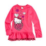Hello Kitty® Long-Sleeve Ruffle-Hem Tee – Girls 4-6x