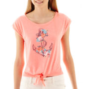 Arizona Short-Sleeve Nautical Tie-Front Tee