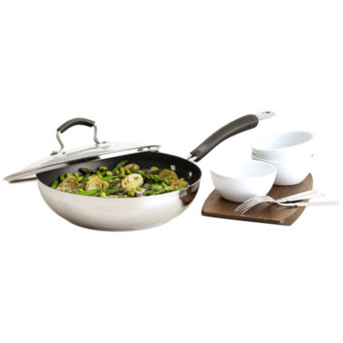 "jcpenney.com | Epicurious® 11"" Stainless Steel Nonstick Fry Pan with Lid"