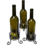Epicureanist™ Set of 3 Wine Bottle Candle Holders