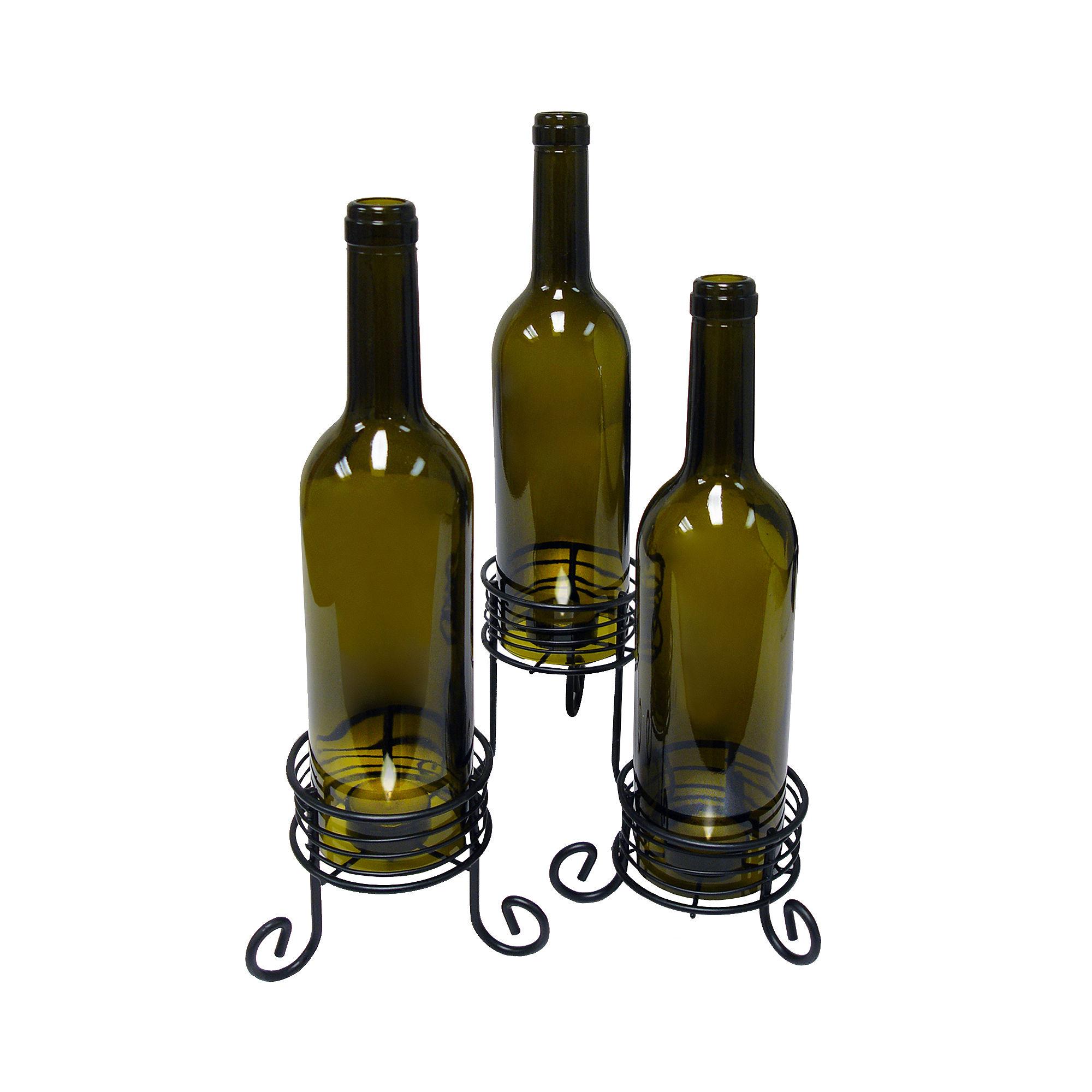 Epicureanist™ Set of 3 Wine Bottle Tealight Candle Holders