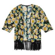 Eyeshadow Girl 3/4-Sleeve Print Kimono - Girls 7-16