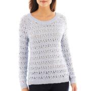i jeans by Buffalo Long-Sleeve Open-Stitch Metallic Shimmer Sweater