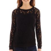 a.n.a® Long-Sleeve Lace Sweatshirt - Petite