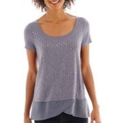a.n.a® Short-Sleeve Embellished Chiffon-Trim Tee