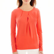 Liz Claiborne® Long-Sleeve Pleated Scoopneck Knit Top - Tall