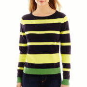 Liz Claiborne® Long-Sleeve Colorblock-Striped Sweater - Tall