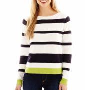 Liz Claiborne Long-Sleeve Colorblock-Striped Sweater - Tall