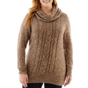 St. John's Bay® Long-Sleeve Marled Sweater Tunic and Scarf - Plus