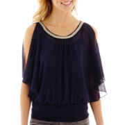by&by Elbow-Sleeve Cold-Shoulder Chain-Trim Top