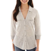 Almost Famous 3/4-Sleeve Button-Front Top