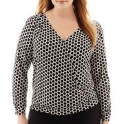Worthington® Long-Sleeve Crossover Blouse - Plus