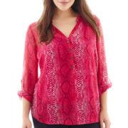 a.n.a® Long-Sleeve Mandarin Collar Chiffon Popover Top - Plus
