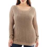 a.n.a® Long-Sleeve Pointelle Open-Stitch Sweater - Plus