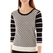 Worthington® 3/4-Sleeve Patterned Crewneck Sweater - Tall