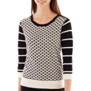 Worthington® 3/4-Sleeve Patterned Crewneck Sweater - Tall