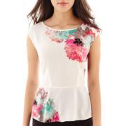 Worthington® Short-Sleeve Peplum Print Blouse - Tall