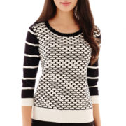 Worthington® 3/4-Sleeve Textured Grid Sweater - Petite