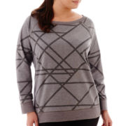 Xersion™ Long-Sleeve Burnout Sweatshirt - Plus