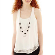 by&by Sleeveless Lace Peek-a-Boo Necklace Top