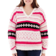 Arizona Long-Sleeve Fair Isle Eyelash Hoodie - Plus