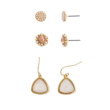 jcpenney.com | Sandra Magsamen 3-pc. White Gold Over Brass Earring Sets