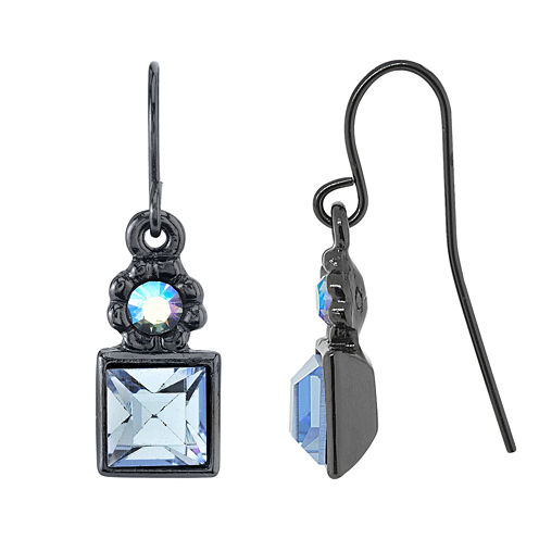 1928 Jewelry Black-Tone Sapphire Blue And Blue  Drop Earrings