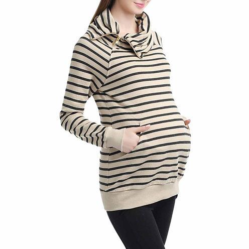 Momo Baby Jasmine Long Sleeve Turtleneck Pullover Sweater-Maternity