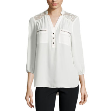 jcpenney.com | Hollywould 3/4 Sleeve Nylon Blouse-Juniors