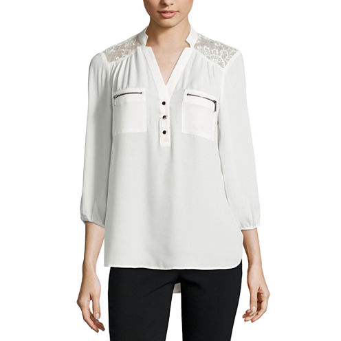 Hollywould 3/4 Sleeve Nylon Blouse-Juniors