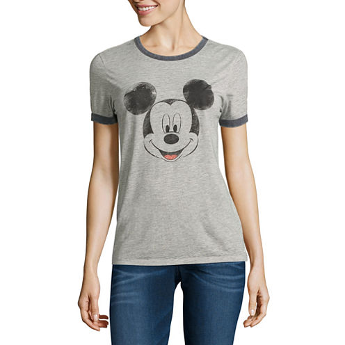 "Short Sleeve Crew Neck ""Mickey Mouse"" T-Shirt-Juniors"