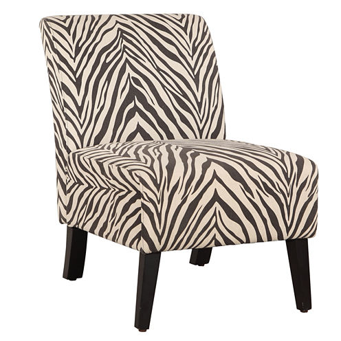 Lily Zebra Fabric Slipper Chair