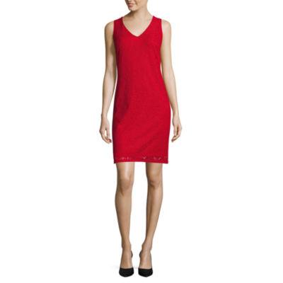 Liz Claiborne Sleeveless V Neck Lace Dress Jcpenney
