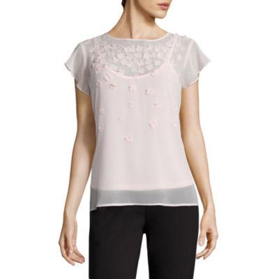 Liz Claiborne Short Sleeve Crew Neck 3D Floral Woven Blouse
