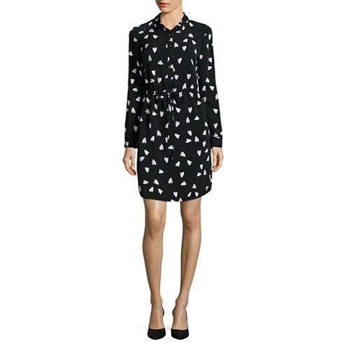 Liz Claiborne Long Sleeve Shirt Dress-Petites
