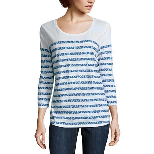 Liz Claiborne 3/4 Sleeve Crew Neck Pattern T-Shirt-Womens