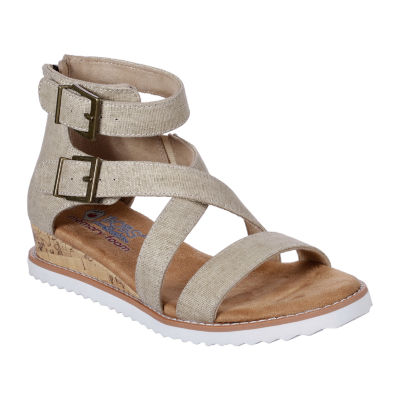Skechers Bobs Womens Desert Kiss Golden Trail Strap Sandals, Color: Natural JCPenney