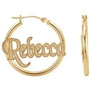 14K Gold Over Silver Nameplate Hoop Earrings