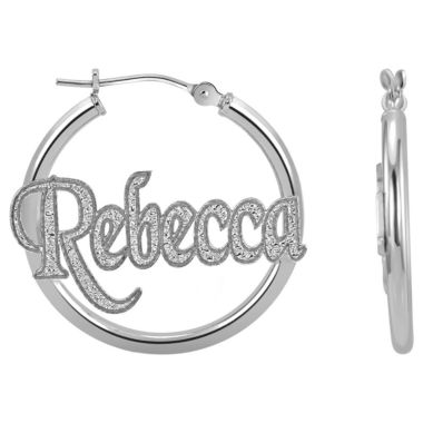 jcpenney.com | Personalized Sterling Silver Name Hoop Earrings