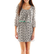 City Triangles® Chevron Print Belted Dress
