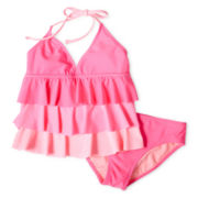 Breaking Waves Pink 2-pc. Swimsuit - Girls 6-16