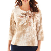 Alfred Dunner® Animal Attraction Floral Yoke Knit Top - Petite